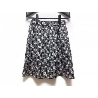 【中古】 マッキントッシュフィロソフィー スカート サイズ36 M レディース 黒 白 グレー 花柄