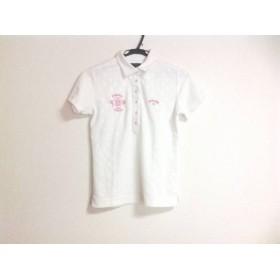 【中古】 キャロウェイ CALLAWAY 半袖ポロシャツ レディース 白 ピンク エンボス加工