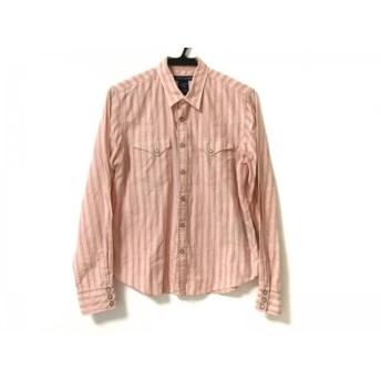 【中古】 ラルフローレン RalphLauren 長袖シャツ サイズ12 メンズ 美品 ピンク ベージュ 黒 ストライプ