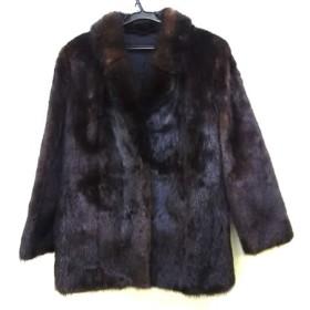 【中古】 ノーブランド コート サイズ11 M レディース ダークブラウン ミンクファー/冬物/ネーム刺繍