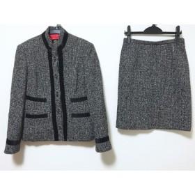 【中古】 イタリヤ 伊太利屋/GKITALIYA スカートスーツ サイズ9 M レディース 美品 グレー 黒