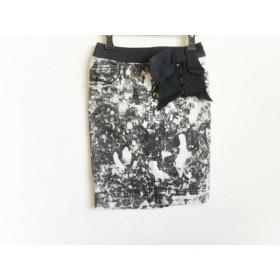 【中古】 エポカ EPOCA スカート サイズ38 M レディース 黒 アイボリー デニム/リボン