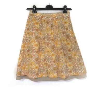 【中古】 アマカ AMACA スカート サイズ38 M レディース ベージュ オレンジ マルチ 花柄