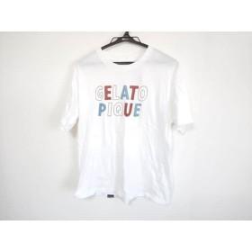 【中古】 ジェラートピケ gelato pique 半袖Tシャツ サイズM メンズ 白 ブラウン ライトブルー HOMME