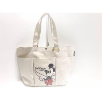【中古】 スナイデル snidel トートバッグ アイボリー 黒 レッド Disney キャンバス