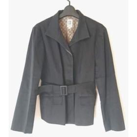 【中古】 ミッシェルクラン コート サイズ48 XL レディース 黒 ショート丈/春・秋物 綿ポリウレタン