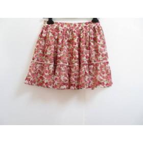【中古】 フェルゥ Feroux ミニスカート サイズ2 M レディース アイボリー レッド マルチ 花柄
