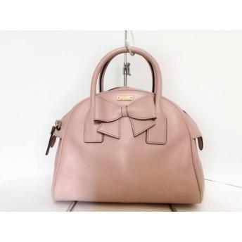 【中古】 ケイトスペード ハンドバッグ ハノーヴァーストリートスモール PXRU5187 ピンク リボン レザー