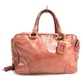 【中古】 プラダ PRADA ハンドバッグ - BL0821 ブラウングレー 革タグ エナメル(レザー)