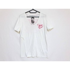 【中古】 ロデオクラウンズ RODEOCROWNS 半袖Tシャツ サイズ2 M レディース アイボリー レッド コットン