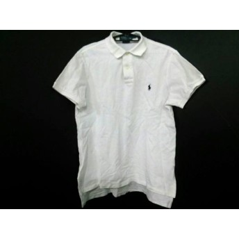 【中古】 ポロラルフローレン POLObyRalphLauren 半袖ポロシャツ サイズM メンズ 白 ダークネイビー 刺繍