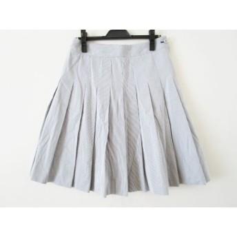 【中古】 オールドイングランド OLD ENGLAND スカート サイズ38 M レディース 美品 グレー 白 ストライプ