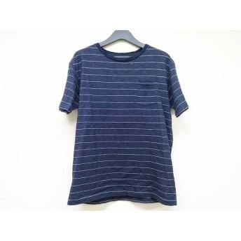 【中古】 ノースフェイス THE NORTH FACE 半袖Tシャツ サイズXL メンズ ダークネイビー 白 ボーダー