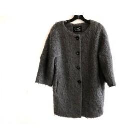 【中古】 クードシャンス コート サイズ36 S レディース ダークグレー ファー/冬物 羊毛モヘヤアクリル