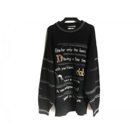 【中古】 アダバット Adabat 長袖セーター サイズ5 XL メンズ 黒 グレー マルチ