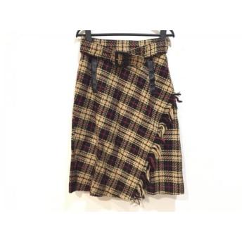 【中古】 ジャスグリッティー スカート サイズ2 M レディース ライトブラウン 黒 ボルドー チェック柄