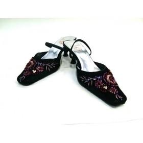 【中古】 カリーノ CARINO ミュール レディース 黒 ピンク レッド ビーズ/刺繍 ハラコ