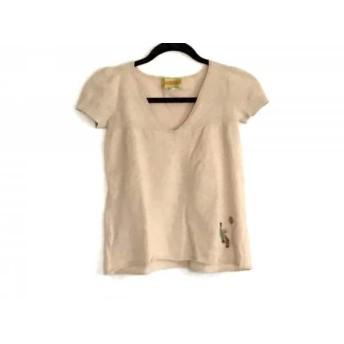 【中古】 ホコモモラ JOCOMOMOLA 半袖セーター サイズ40 XL レディース ベージュ 刺繍