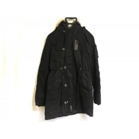 【中古】 マウジー moussy コート サイズ2 M レディース 黒 冬物/ファー/中綿ポリエステル