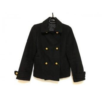 【中古】 ユニバーサルミューズ コート サイズ2 M レディース 黒 ショート丈 毛ポリエステルナイロン