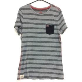 【中古】 ナパピリ NAPAPIJRI 半袖Tシャツ サイズS メンズ 美品 グレー 黒 レッド ボーダー