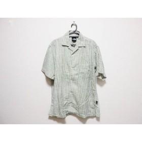 【中古】 ノースフェイス 半袖シャツ サイズM メンズ 白 カーキ ライトグリーン チェック柄