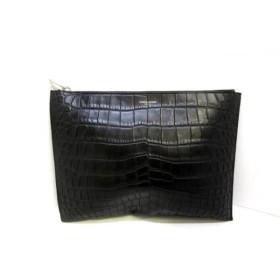 【中古】 サンローランパリ SAINT LAURENT PARIS クラッチバッグ 美品 397294 黒 型押し加工 レザー