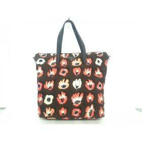 【中古】 プラダ PRADA ハンドバッグ 美品 - ダークブラウン ピンク マルチ 花柄 ナイロン レザー