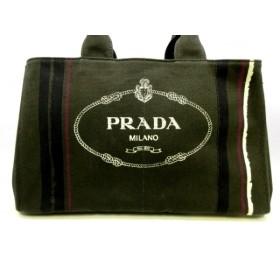 【中古】 プラダ PRADA トートバッグ CANAPA BN1872 カーキ 黒 マルチ キャンバス