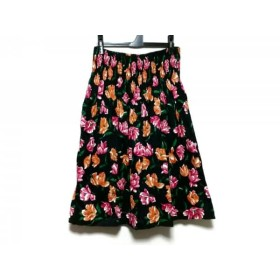 【中古】 イヴサンローラン ロングスカート サイズ9 M レディース 黒 ピンク マルチ tee-shirts/花柄