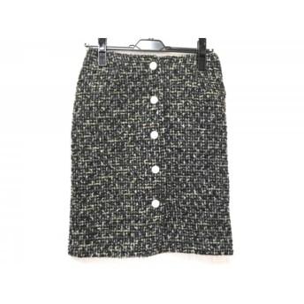 【中古】 ミュベールワーク MUVEIL WORK スカート サイズ36 S レディース 黒 カーキ マルチ