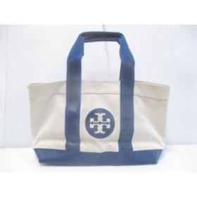 【中古】 トリーバーチ ハンドバッグ アイボリー ダークネイビー キャンバス PVC(塩化ビニール)