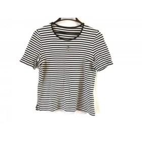 【中古】 レリアン Leilian 半袖Tシャツ サイズ9 M レディース 美品 黒 白 ボーダー/ラインストーン