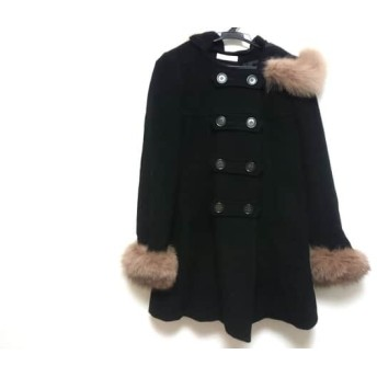【中古】 レッセパッセ LAISSE PASSE コート レディース 黒 ライトブラウン ファー/冬物