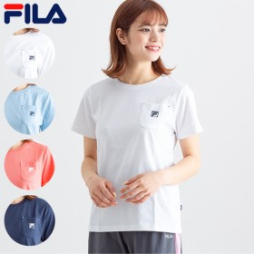 Tシャツ - A-STREET フィラ FILA レディースTシャツ ロゴ おしゃれ かわいい 2019初夏 ホワイト 白 サックス(水色) ピンク ネイビー 紺SM L LL FL5460