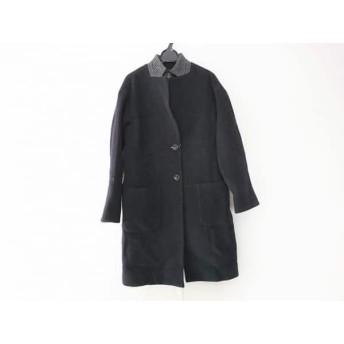 【中古】 レリアン Leilian コート サイズ9 M レディース ダークネイビー グレー 一部千鳥格子/冬物