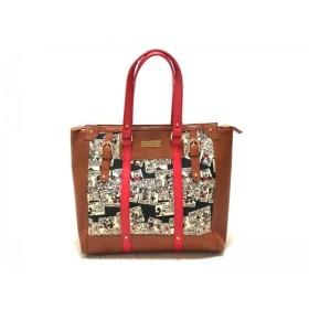 【中古】 サマンサベガ ハンドバッグ 美品 ブラウン レッド マルチ Disneyコラボ/ミッキー&ミニー