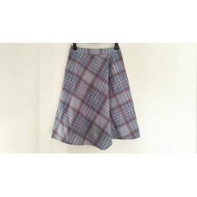 【中古】 ジユウク 自由区/jiyuku スカート サイズ38 M レディース ライトグレー マルチ チェック柄