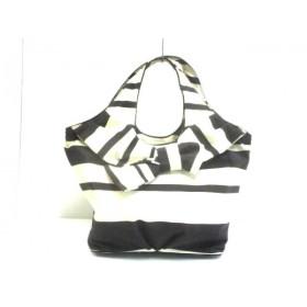 【中古】 ケイトスペード Kate spade ハンドバッグ PXRU0919 白 黒 リボン/ボーダー ナイロン