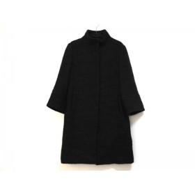 【中古】 エムプルミエ M-PREMIER コート サイズ36 S レディース 黒 ツイード/冬物 毛ポリエステル綿
