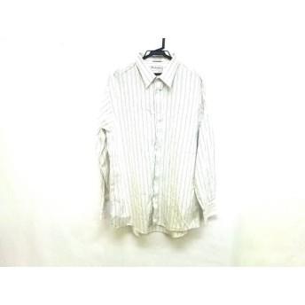 【中古】 バーバリーズ Burberry's 長袖シャツ サイズ17-34 メンズ 白 ベージュ ネイビー ストライプ