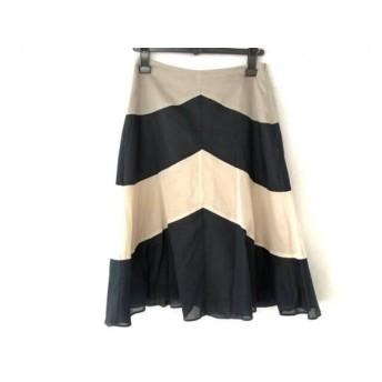 【中古】 ホコモモラ JOCOMOMOLA スカート サイズ40 XL レディース ネイビー 白 ライトグレー