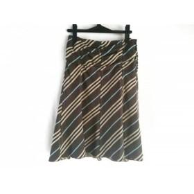 【中古】 バーバリーブルーレーベル スカート サイズ38 M レディース ダークブラウン ベージュ マルチ