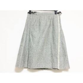 【中古】 オニール O'NEIL 巻きスカート サイズ42 ( I ) レディース グレー アイボリー プリーツ