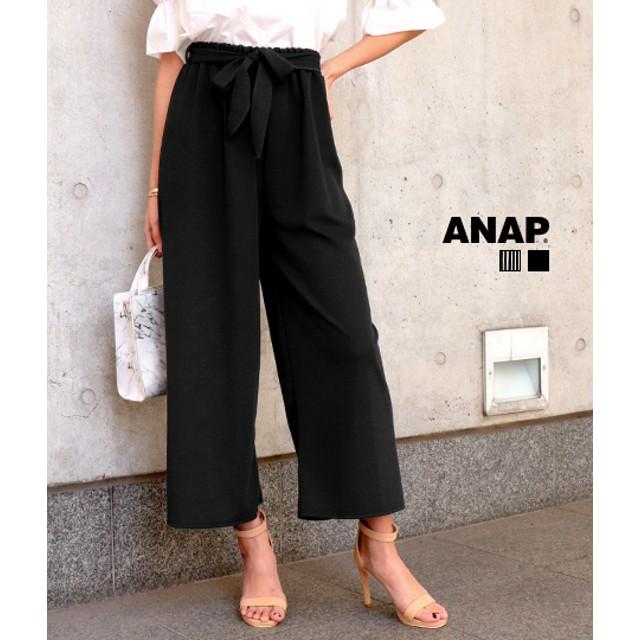 【セール開催中】ANAP(アナップ)リボン付ストライプワイドパンツ