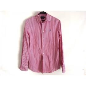 【中古】 ポロラルフローレン 長袖シャツブラウス サイズ4 S レディース 美品 ピンク 白 ストライプ