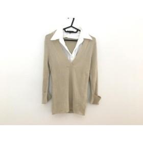 【中古】 ニジュウサンク 23区 七分袖セーター サイズ38 M レディース 美品 ベージュ フェイクレーヤード