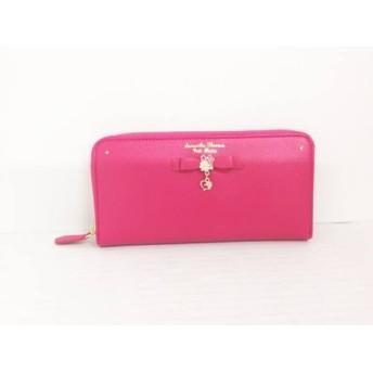 【中古】 サマンサタバサプチチョイス 長財布 美品 ピンク リボン/フラワー/ラウンドファスナー 合皮