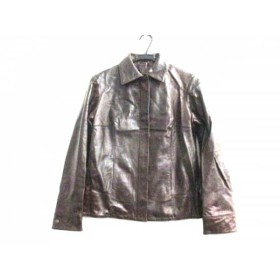 【中古】 バーバリーロンドン ライダースジャケット サイズ38 L レディース ダークブラウン 冬物