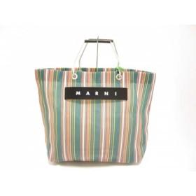 【中古】 マルニ MARNI トートバッグ 美品 グリーン ピンク マルチ ストライプ ナイロン